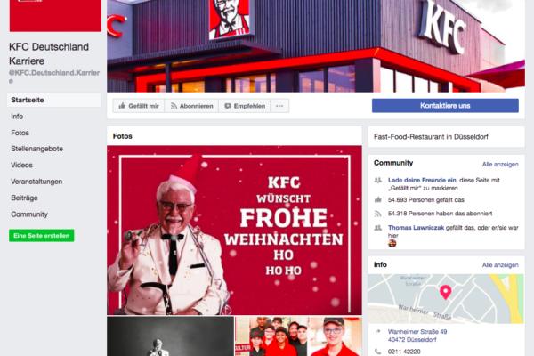 Facebook Betreuung für KFC Deutschland Karriere