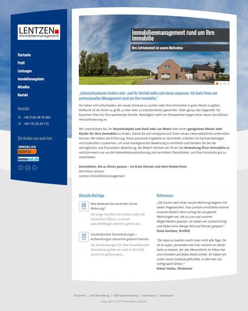 Webauftritt für Lentzen Immobilienmanagement