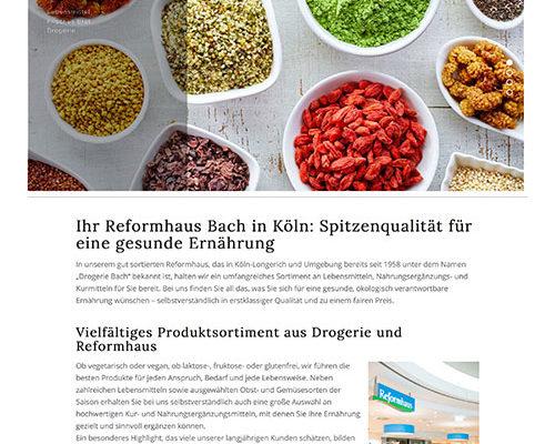 Webauftritt für Reformhaus Bach
