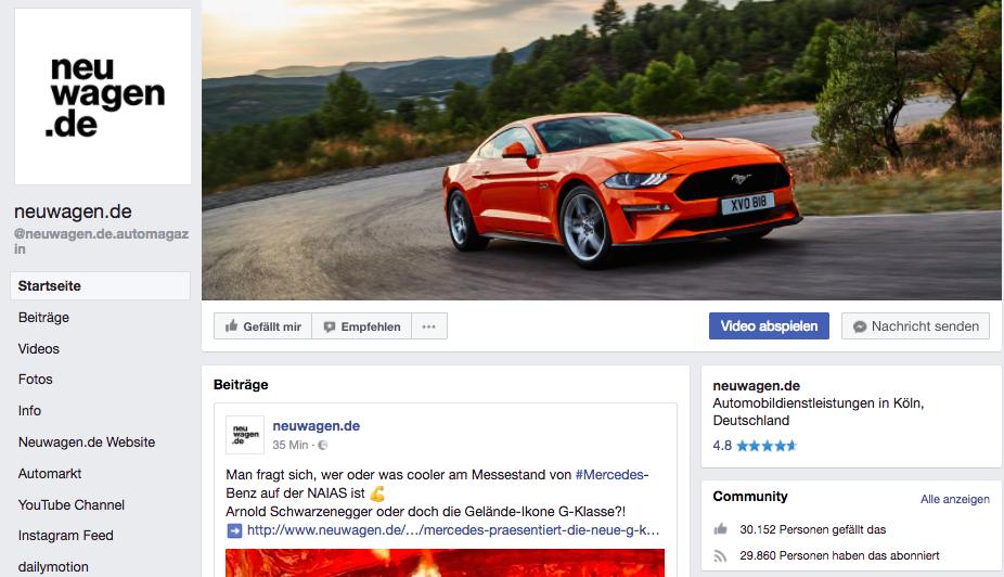 neuwagen.de Facebook Projekt Ausschnitt