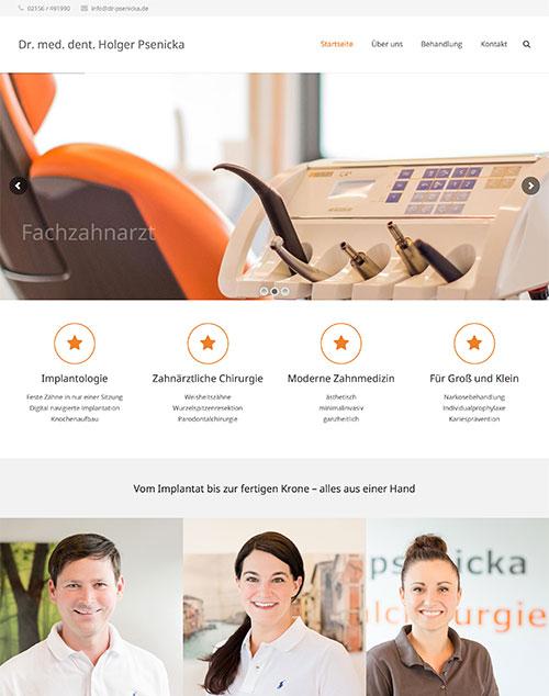 Webauftritt für Zahnarztpraxis Dr. Psenicka