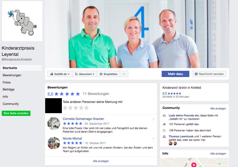 Facebook Unternehmensseite Kinderarztpraxis Krefeld